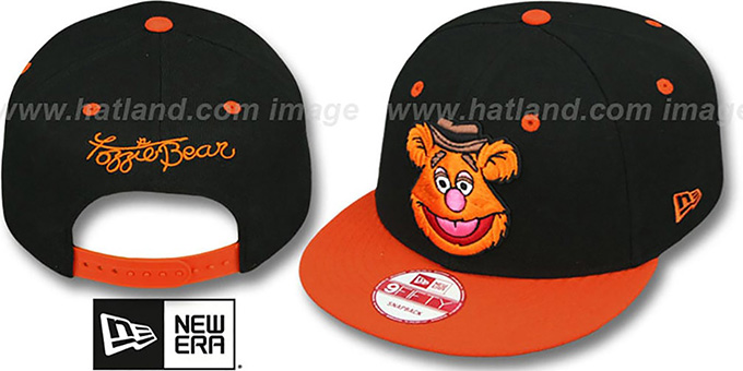 Fozzie 'MUPPETS' Black-Orange Snapback Hat by New Era : pictured without stickers that these products are shipped with