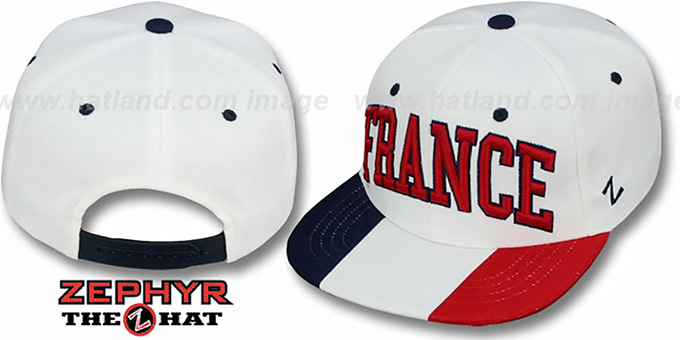 France 'SUPERSTAR SNAPBACK' White Hat by Zephyr : pictured without stickers that these products are shipped with
