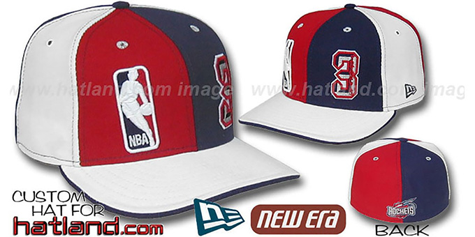 Francis 'DOUBLE WHAMMY' Red-Navy-white Fitted Hat : pictured without stickers that these products are shipped with