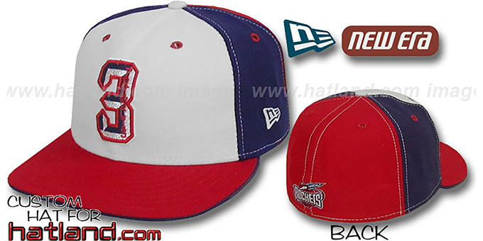 Francis 'PINWHEEL' White-Navy-Red Fitted Hat by New Era : pictured without stickers that these products are shipped with