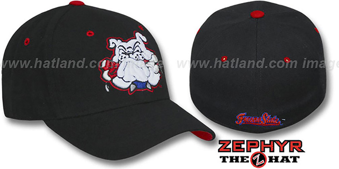 Fresno State 'DHS' Black Fitted Hat by Zephyr : pictured without stickers that these products are shipped with