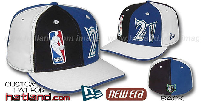 Garnett 'DOUBLE WHAMMY' Black-Royal-white Fitted Hat : pictured without stickers that these products are shipped with
