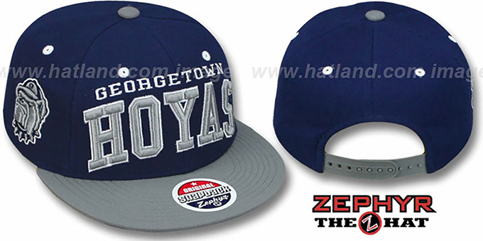 Georgetown  '2T SUPER-ARCH SNAPBACK' Navy-Grey Adjustable Hat by Zephyr : pictured without stickers that these products are shipped with