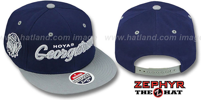 Georgetown '2T HEADLINER SNAPBACK' Navy-Grey Hat by Zephyr : pictured without stickers that these products are shipped with