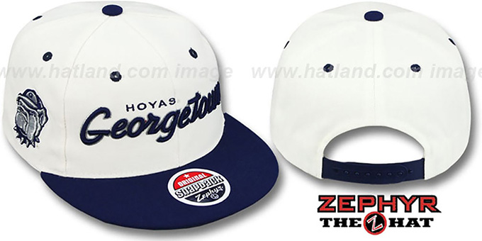 reputable site d5ad0 a4a86 Georgetown  2T HEADLINER SNAPBACK  White-Navy Hat by Zephyr