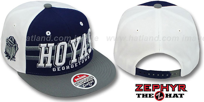 Georgetown '2T SUPERSONIC SNAPBACK' Navy-Grey Hat by Zephyr : pictured without stickers that these products are shipped with