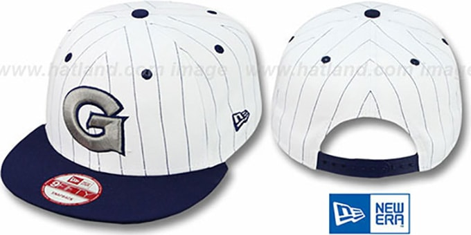 Georgetown 'PINSTRIPE BITD SNAPBACK' White-Navy Hat by New Era : pictured without stickers that these products are shipped with