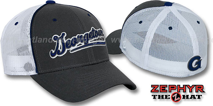 Georgetown 'SCRIPT-MESH' Fitted Hat by Zephyr - grey-white : pictured without stickers that these products are shipped with
