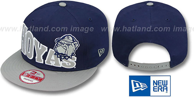 Georgetown 'STOKED SNAPBACK' Navy-Grey Hat by New Era : pictured without stickers that these products are shipped with