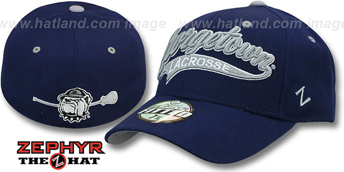 Georgetown 'SWOOP LACROSSE' Navy Fitted Hat by Zephyr : pictured without stickers that these products are shipped with