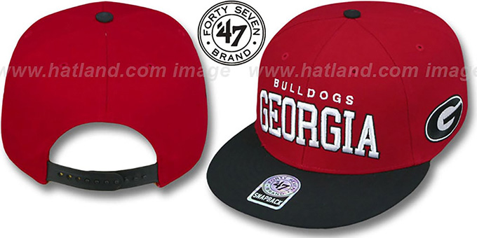 Georgia '2T BLOCKSHED SNAPBACK' Adjustable Hat by Twins 47 Brand : pictured without stickers that these products are shipped with