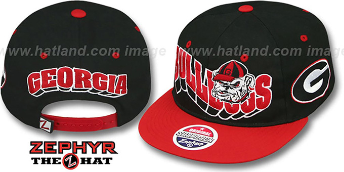 Georgia '2T FLASHBACK SNAPBACK' Black-Red Hat by Zephyr : pictured without stickers that these products are shipped with
