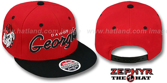Georgia '2T HEADLINER SNAPBACK' Red-Black Hat by Zephyr : pictured without stickers that these products are shipped with