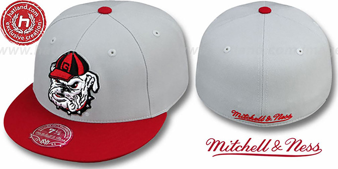 Georgia '2T XL-LOGO' Grey-Red Fitted Hat by Mitchell & Ness : pictured without stickers that these products are shipped with