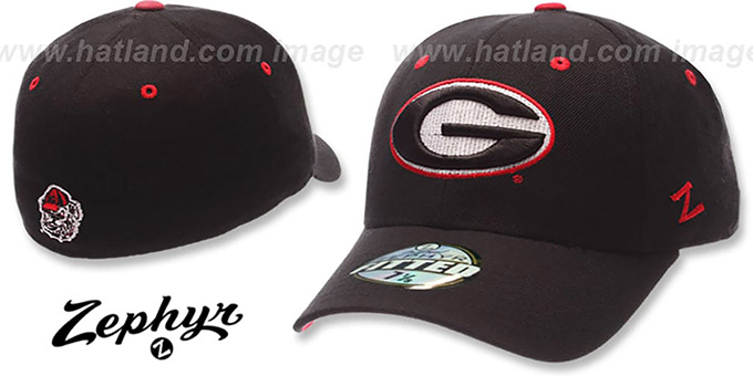 Georgia 'DH' Fitted Hat by ZEPHYR - black : pictured without stickers that these products are shipped with