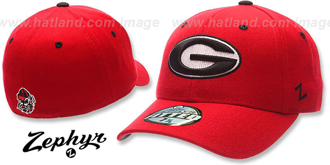 Georgia 'DH' Fitted Hat by ZEPHYR - red : pictured without stickers that these products are shipped with