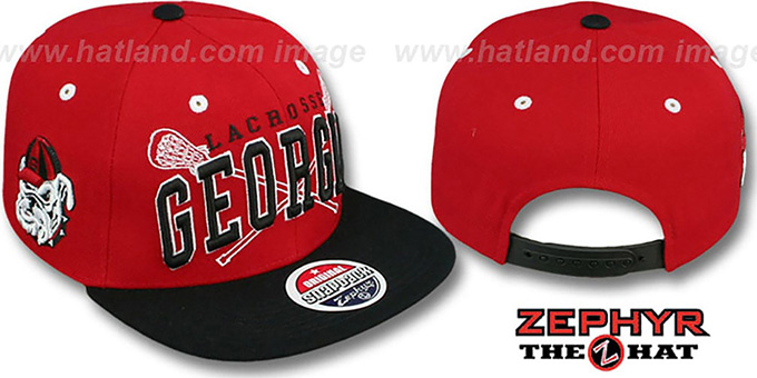 Georgia 'LACROSSE SUPER-ARCH SNAPBACK' Red-Black Hat by Zephyr : pictured without stickers that these products are shipped with