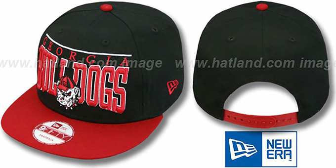 Georgia 'LE-ARCH SNAPBACK' Black-Red Hat by New Era : pictured without stickers that these products are shipped with