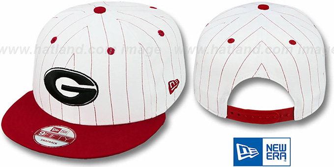 Georgia 'PINSTRIPE BITD SNAPBACK' White-Red Hat by New Era : pictured without stickers that these products are shipped with