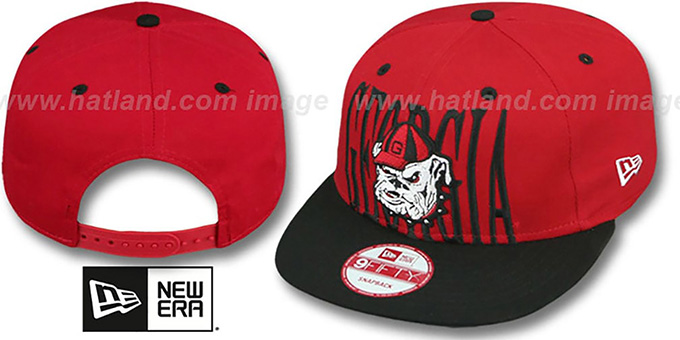 Georgia 'STEP-ABOVE SNAPBACK' Red-Black Hat by New Era : pictured without stickers that these products are shipped with