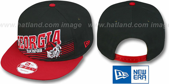Georgia 'STILL ANGLIN SNAPBACK' Black-Red Hat by New Era : pictured without stickers that these products are shipped with
