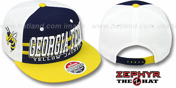 Georgia Tech '2T SUPERSONIC SNAPBACK' Navy-Gold Hat by Zephyr : pictured without stickers that these products are shipped with