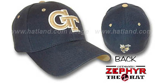 Georgia Tech 'DH' Fitted Hat by ZEPHYR - navy : pictured without stickers that these products are shipped with