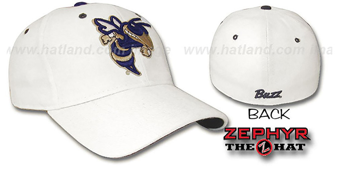 Georgia Tech 'DHS' Fitted Hat by ZEPHYR - white : pictured without stickers that these products are shipped with