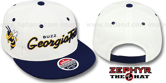 Georgia Tech 'HEADLINER' White Navy hat by Zephyr : pictured without stickers that these products are shipped with