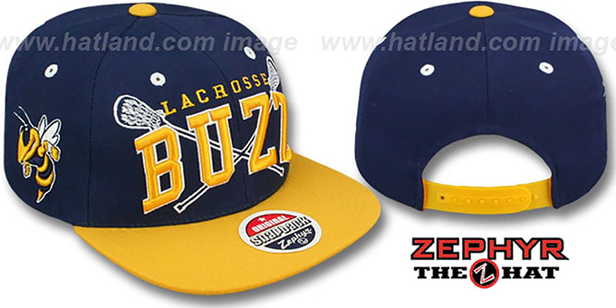 Georgia Tech 'LACROSSE SUPER-ARCH SNAPBACK' Navy-Gold Hat by Zephyr : pictured without stickers that these products are shipped with