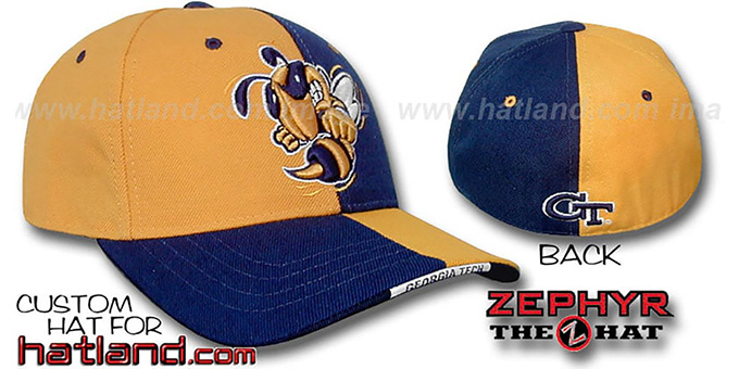 Georgia Tech 'SPLITTER' Gold-Navy Fitted Hat by Zephyr : pictured without stickers that these products are shipped with