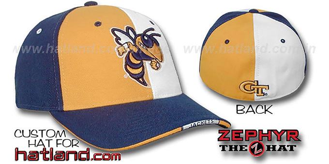 Georgia Tech 'TWIST' Gold-White-Navy Fitted Hat by Zephyr : pictured without stickers that these products are shipped with