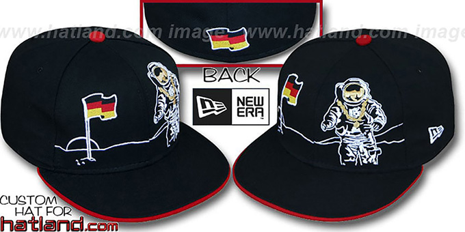 Germany 'MOONMAN' Black Fitted Hat by New Era : pictured without stickers that these products are shipped with