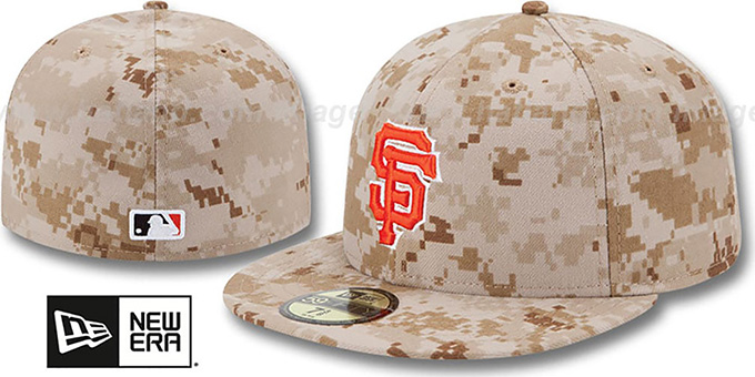 Giants 2013 'STARS N STRIPES' Desert Camo Hat by New Era : pictured without stickers that these products are shipped with