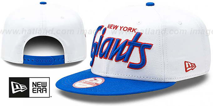 Giants '2T TEAM-SCRIPT SNAPBACK' White-Royal Hat by New Era : pictured without stickers that these products are shipped with