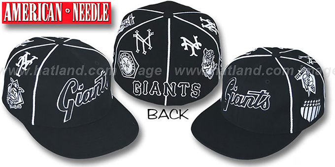 Giants 'COOPERSTOWN ALL-OVER' Black Fitted Hat by American Needle : pictured without stickers that these products are shipped with