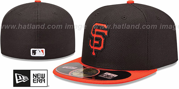 156d0916 San Francisco Giants MLB DIAMOND ERA 59FIFTY Black-Orange BP Hat by New Era