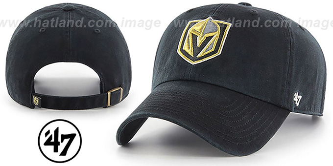 Golden Knights 'CLEAN-UP STRAPBACK' Black Hat by Twins 47 Brand
