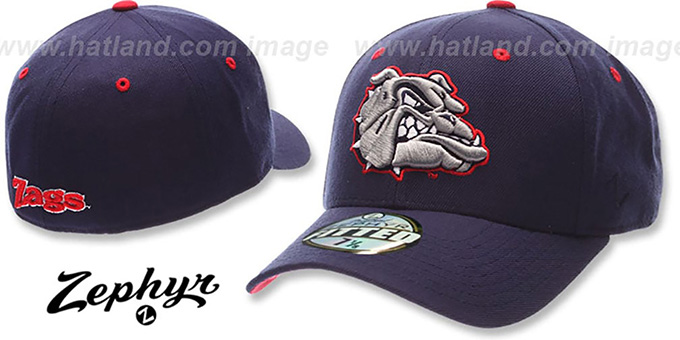 Gonzaga 'DHS' Fitted Hat by ZEPHYR - navy : pictured without stickers that these products are shipped with