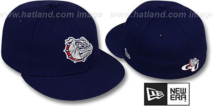 Gonzaga 'NCAA-BASIC' Navy Fitted Hat by New Era : pictured without stickers that these products are shipped with