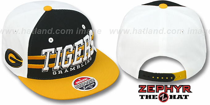 Grambling '2T SUPERSONIC SNAPBACK' Black-Gold Hat by Zephyr : pictured without stickers that these products are shipped with