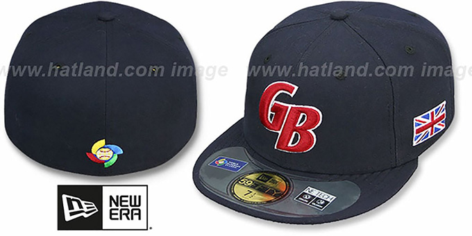 Great Britain 'PERFORMANCE WBC' Navy Hat by New Era : pictured without stickers that these products are shipped with