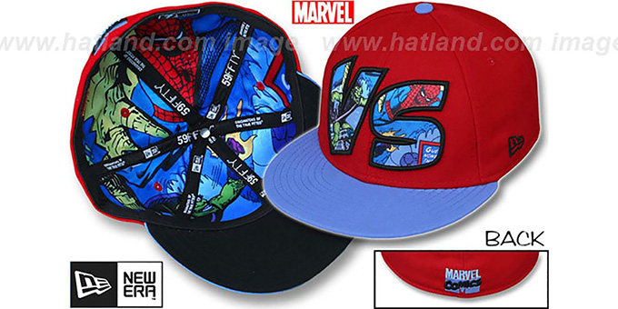 Green Goblin 'VERSUS' Spiderman Red-Sky Fitted Hat by New Era : pictured without stickers that these products are shipped with