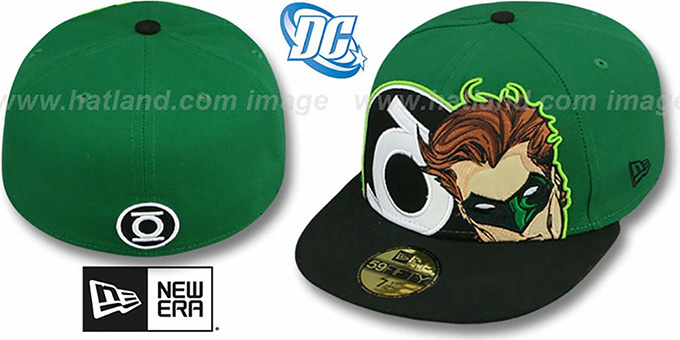 GREEN LANTERN 'HERO-HCL' Green-Black Fitted Hat by New Era : pictured without stickers that these products are shipped with