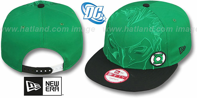 Green Lantern 'OVERFACE SNAPBACK' Green-Black Hat by New Era : pictured without stickers that these products are shipped with