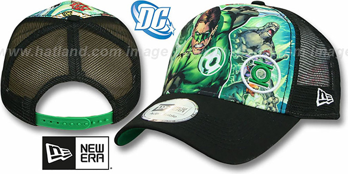 Green Lantern 'SPLASH FRONT TRUCKER' Adjustable Hat by New Era : pictured without stickers that these products are shipped with