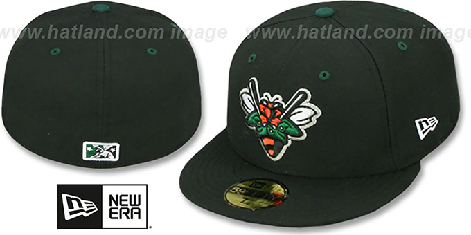 Greenjackets 'PERFORMANCE HOME' Black Fitted Hat by New Era : pictured without stickers that these products are shipped with