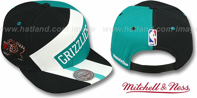 Grizzlies '1-ON-1 SNAPBACK' Black-White-Teal Hat by Mitchell & Ness : pictured without stickers that these products are shipped with