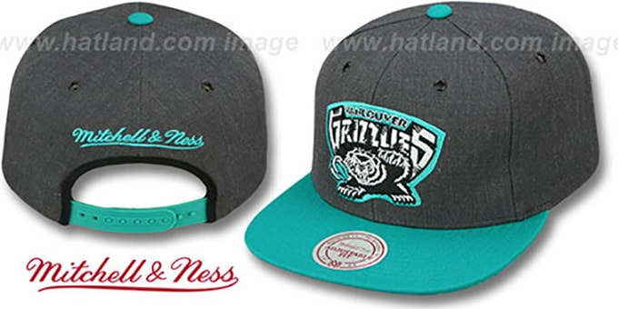 Grizzlies '2T-HEATHER SNAPBACK' Grey-Teal Hat by Mitchell & Ness : pictured without stickers that these products are shipped with