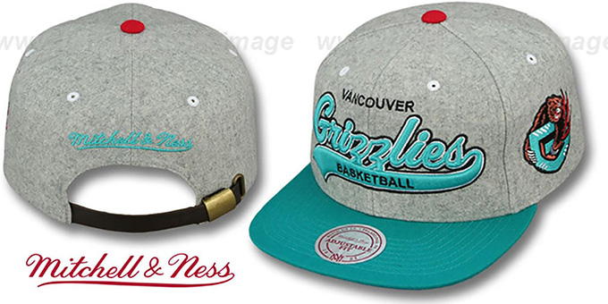 Grizzlies '2T TAILSWEEPER STRAPBACK' Grey-Teal Hat by Mitchell & Ness : pictured without stickers that these products are shipped with